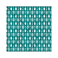 Teal And White Spatula Spoon Pattern Acrylic Tangram Puzzle (6  X 6 )