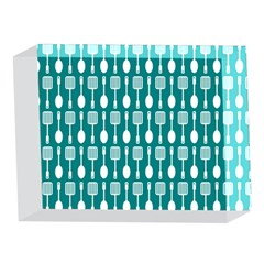 Teal And White Spatula Spoon Pattern 5 x 7  Acrylic Photo Blocks