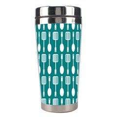 Teal And White Spatula Spoon Pattern Stainless Steel Travel Tumblers