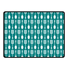 Teal And White Spatula Spoon Pattern Double Sided Fleece Blanket (small)