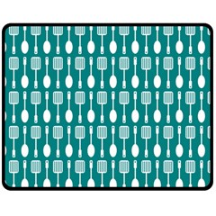 Teal And White Spatula Spoon Pattern Double Sided Fleece Blanket (Medium)
