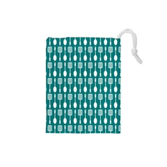 Teal And White Spatula Spoon Pattern Drawstring Pouches (Small)