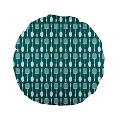 Teal And White Spatula Spoon Pattern Standard 15  Premium Flano Round Cushions
