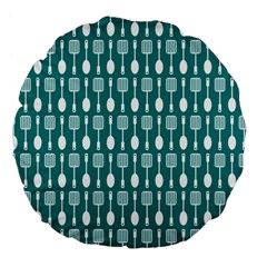 Teal And White Spatula Spoon Pattern Large 18  Premium Flano Round Cushions