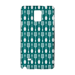 Teal And White Spatula Spoon Pattern Samsung Galaxy Note 4 Hardshell Case