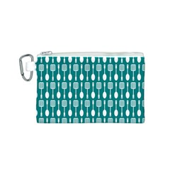 Teal And White Spatula Spoon Pattern Canvas Cosmetic Bag (S)