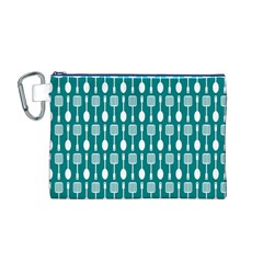 Teal And White Spatula Spoon Pattern Canvas Cosmetic Bag (M)