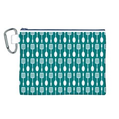 Teal And White Spatula Spoon Pattern Canvas Cosmetic Bag (L)