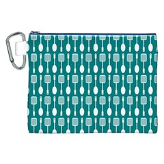 Teal And White Spatula Spoon Pattern Canvas Cosmetic Bag (XXL)
