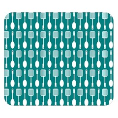 Teal And White Spatula Spoon Pattern Double Sided Flano Blanket (Small)