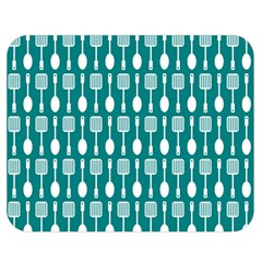 Teal And White Spatula Spoon Pattern Double Sided Flano Blanket (Medium)