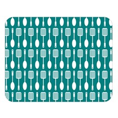 Teal And White Spatula Spoon Pattern Double Sided Flano Blanket (Large)