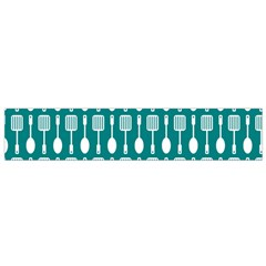 Teal And White Spatula Spoon Pattern Flano Scarf (Small)