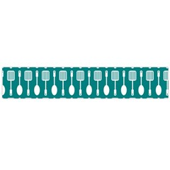 Teal And White Spatula Spoon Pattern Flano Scarf (Large)