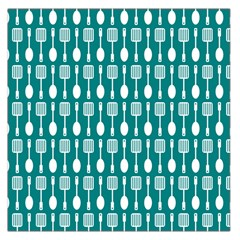 Teal And White Spatula Spoon Pattern Large Satin Scarf (Square)