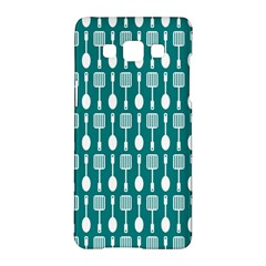 Teal And White Spatula Spoon Pattern Samsung Galaxy A5 Hardshell Case