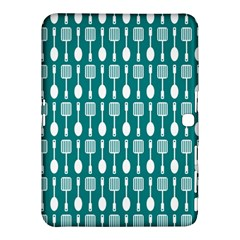 Teal And White Spatula Spoon Pattern Samsung Galaxy Tab 4 (10.1 ) Hardshell Case