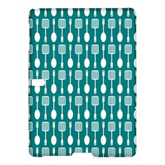 Teal And White Spatula Spoon Pattern Samsung Galaxy Tab S (10.5 ) Hardshell Case