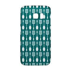 Teal And White Spatula Spoon Pattern Galaxy S6 Edge