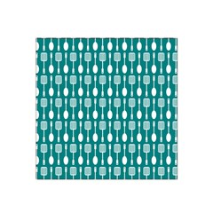 Teal And White Spatula Spoon Pattern Satin Bandana Scarf