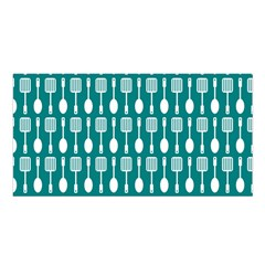 Teal And White Spatula Spoon Pattern Satin Shawl