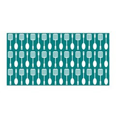 Teal And White Spatula Spoon Pattern Satin Wrap