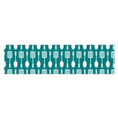 Teal And White Spatula Spoon Pattern Satin Scarf (Oblong)