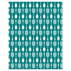 Teal And White Spatula Spoon Pattern Drawstring Bag (Small)