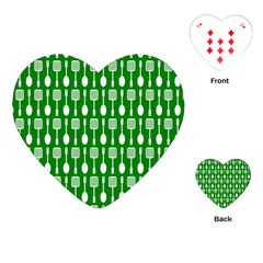 Green And White Kitchen Utensils Pattern Playing Cards (heart)