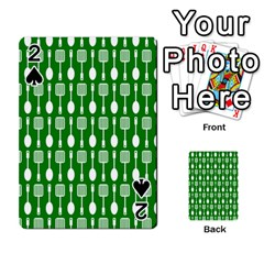 Green And White Kitchen Utensils Pattern Playing Cards 54 Designs