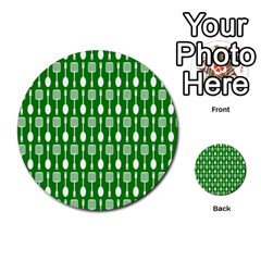 Green And White Kitchen Utensils Pattern Multi Purpose Cards (round)