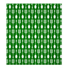 Green And White Kitchen Utensils Pattern Shower Curtain 66  x 72  (Large)