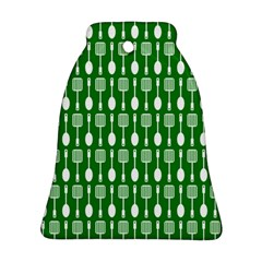 Green And White Kitchen Utensils Pattern Ornament (Bell)