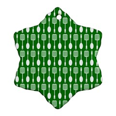 Green And White Kitchen Utensils Pattern Snowflake Ornament (2-Side)