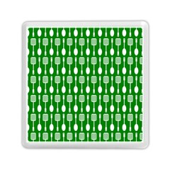Green And White Kitchen Utensils Pattern Memory Card Reader (Square)