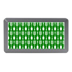 Green And White Kitchen Utensils Pattern Memory Card Reader (Mini)