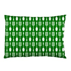 Green And White Kitchen Utensils Pattern Pillow Cases (two Sides)
