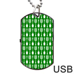 Green And White Kitchen Utensils Pattern Dog Tag USB Flash (One Side)