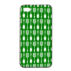 Green And White Kitchen Utensils Pattern Apple iPhone 4/4s Seamless Case (Black)