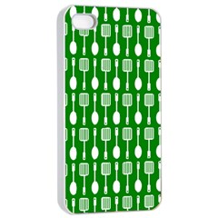 Green And White Kitchen Utensils Pattern Apple Iphone 4/4s Seamless Case (white)