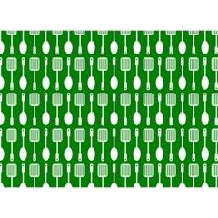 Green And White Kitchen Utensils Pattern Birthday Cake 3d Greeting Card (7x5)