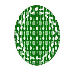 Green And White Kitchen Utensils Pattern Ornament (Oval Filigree)