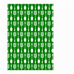 Green And White Kitchen Utensils Pattern Small Garden Flag (Two Sides)