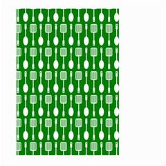 Green And White Kitchen Utensils Pattern Large Garden Flag (two Sides)