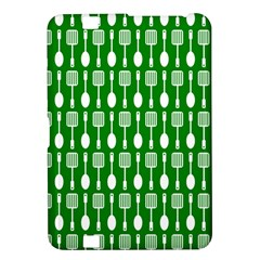 Green And White Kitchen Utensils Pattern Kindle Fire Hd 8 9