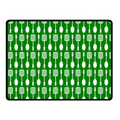 Green And White Kitchen Utensils Pattern Double Sided Fleece Blanket (Small)
