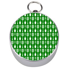 Green And White Kitchen Utensils Pattern Silver Compasses