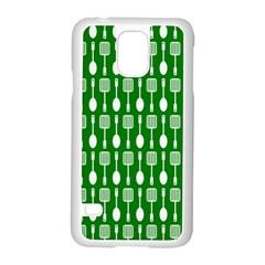 Green And White Kitchen Utensils Pattern Samsung Galaxy S5 Case (white)