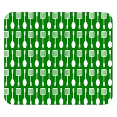 Green And White Kitchen Utensils Pattern Double Sided Flano Blanket (Small)