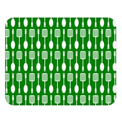 Green And White Kitchen Utensils Pattern Double Sided Flano Blanket (large)